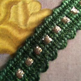 Band | Groen | Vintage acryl groen band met gouden puntje | Wol | 1 cm - vintage 'Golden Point'