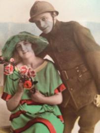 1914-1918 - Antieke briefkaart militair met zijn liefste met spreuk