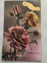 1920 - Vintage postcard 'Ketty 359' rozen met gouden stickertje Bonne Annee