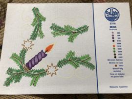 MEZ DellWea | KERST | Sticktwist 5316 - kleurenkaart Kersttafereel Kersttakjes en kaarsje