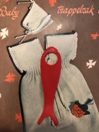Breien | Vintage rood breivisje zonder garen | 12 cm - jaren '60