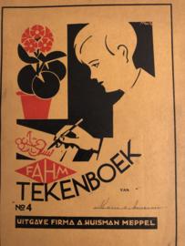 1905 | Antiek school tekenboek / schetsboek vol met tekeningen Firma A.Huisman Meppel FAHM