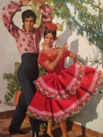 Vintage briefkaarten | Spaanse danseressen (schitterende geborduurde wenskaarten)