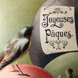 Briefkaarten | Pasen | 'Joyeuses  Paques': Vogeltje op een rood ei  (14-4-1906)