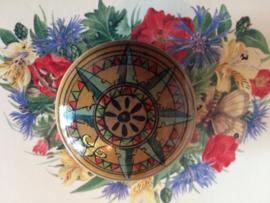 "Prachtig geometrisch klein gelakt doosje ""Compass Rose Star"" | Volkkunst ca. 1900"