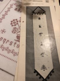 VC | KERST | Telpatroon kerstvaantje 80 x 17 (origineel) - Vintage jaren '60 - engeltje - dennenboom - belletje