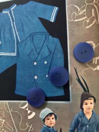 Knopen | Blauw 30 mm - kunststof 2 gaatjes | jaren '50