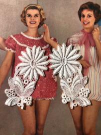 Fournituren | Wit | Applicaties | Vintage bloem uit de jaren '60  (9 x 4,5 cm)