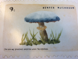 "Briefkaart | ""Winter Mushroom"" - ""You are my greatest surprise when I'm hopeless"""""
