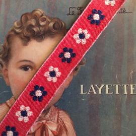 Vintage band | Rood met blauwe en witte bloemen | Katoen | 3 cm | 60's