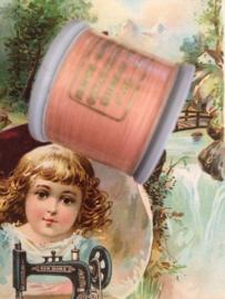 9265 - Garen | Mölnlycke Sytrad Göteborg | roze - zalm 9265 - 110 meter | 120 Yard Yarn 100% polyester naaigaren klosje 3 x 3 cm | Vintage
