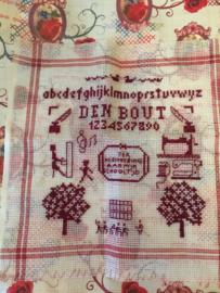 Nederland | Vintage borduur merklapje schooltijd ABC rood en wit en naaimachines | jaren '60