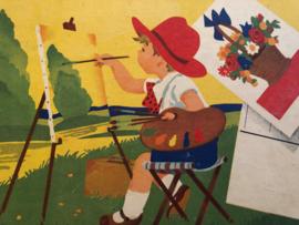 1950 | Kleurboek kinderkleurkaarten boek - boerderij dieren | ca. 1950