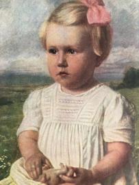 1918 | Duitsland | Carl Priem - Evchen | Meisje met witte jurk en roze haarstrik