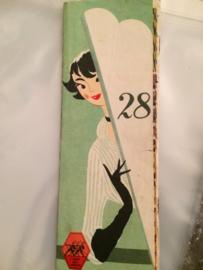 1950 | Breien | 3Suises schattig vintage blaadje 28 kleurige breisteken '50s