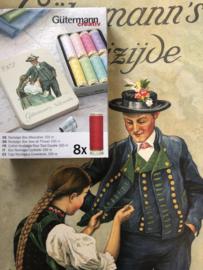 GÜTERMANN nostalgisch naaiblikje met 8 klosjes naaigaren - pastelkleuren