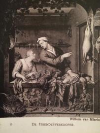 De Hoenderverkooper Willem van Mieris- vintage zwart-wit briefkaart Kunst