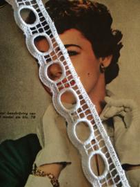 Vintage band | Wit Effen broderie | Wit met oogjes | katoen 3 cm