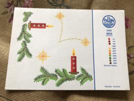 MEZ DellWea | KERST | Sticktwist 5322 - kleurenkaart Kersttafereel Kerstakjes en kaarsje