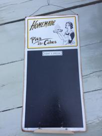 "Vintage stijl krijtbord ""Home Made Pies & Cakes"" | ca. 1990"