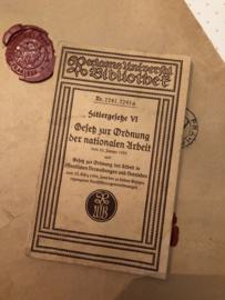 Boeken | Geschiedenis | 1938 | Hitlergesetze VI Gesetz zur Ordnung der nationalen Arbeit : vom 20 Januar 1934 - Rudolf Bever