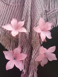 VERKOCHT | Roze bloemen kraaltjes (4 stuks) |  1 cm