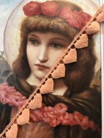 Band   Roze   Zalmroze hartjes sierband - 1cm - 10 mm - katoen