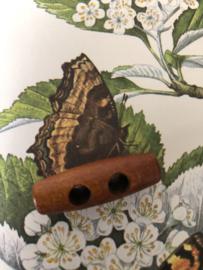 Knopen | Bruin | 40 mm - Kersenhouten rood-bruin houtje touwtje knoop jaren '20 (Duffle Coat)