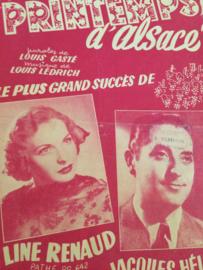 1953 | Bladmuziek Printemps d'Alsace - Paroles de Louis Gasté musique de Louis Ledrich | Line Renauld Jacques Hélian | 1953