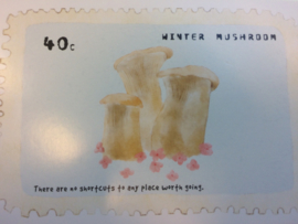 "Briefkaart | ""Winter Mushroom"" - ""Being single doesn't mean that you don't know anything about love"""