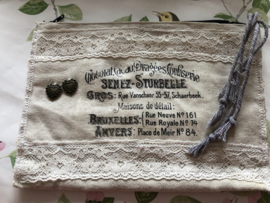 Etui - linnen in brocante style 'Confiserie' (23 x 17 cm)
