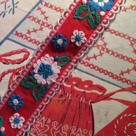 Vintage band | Rood met bloem wit - blauw - groen | Katoen | 2 cm | '60-'70s