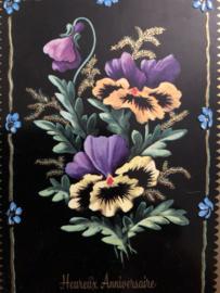 1950 - Briefkaart Carte Postale | M.D. Paris serie no 6640 Hereux Anniversaire reliefkaart viooltjes