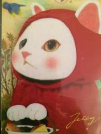 "Choo Choo poezen briefkaart ""Rood kapje"" - NIEUW"