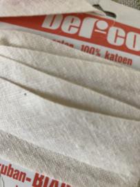 Band | Wit | Biaisband | Crémewit - 2 cm - 1,5 meter Derco op vintage kaartje - 100% katoen