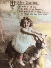 1934 | Engeland | 'Meisje met wit jurkje op een bokje' Birthday Greetings