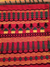 Nederland | Schoolwerkje tapisserie aan ophangstokje | Folklore | vintage jaren '60