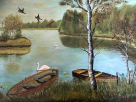 Schilderij | Vogels | Landschap met zwanen (groot formaat) - W. Weert