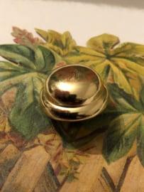 Zilver | glimmend kunststof met bolletje - 1,5 cm | jaren '60