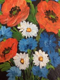 Schilderijen | Zwitserland | Vintage leistenen muurhanger met klaprozen en bergbloemen