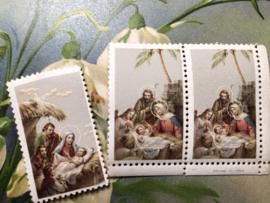 Onbekend | Religie | Plak (post-)zegel met afbeelding geboorte Jezus