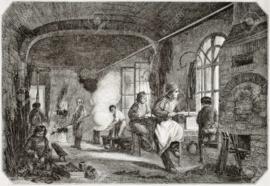 1850 | Foto de archivo - Antigua ilustración de temple y taller de bronceado en fábrica de agujas antiguos. Por autor no identificado, publicado el Magasin Pittoresque, París