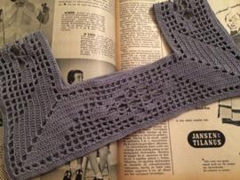 Vintage gehaakt kinderpasje voor jurkje 28 x 13,5 cm | grijs | vintage jaren '50