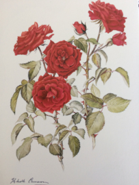 """Vintage dubbele kaart """"rode roos"""" - 1970"""