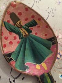 Houten Iraanse lepel met Sufi Dervish danser afbeelding | Folkart | vintage | jaren '40-'50