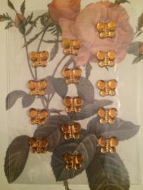 Velletje met 15 stuks geel goud kleurige kleine stickers vlindertjes 0,5 cm