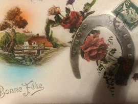 Kerstmis | Ansichtkaart - Briefkaart - Hoefijzer met roosjes  'Bon Fete'