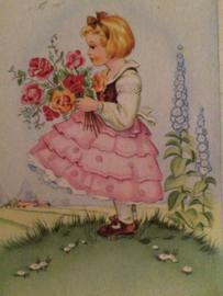 1920 - België | Lieflijk meisje met bloemen ? en roze rokje
