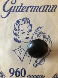 Knopen | Zwart | 30 mm - Originele Football of knot button (voetbalknopen) lederen/leren knoop met metalen oogje, 100% leer. (leerknoop)