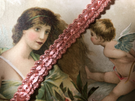 Band   Roze   Satijn   Gevlochten licht oud-roze sierband 0.5 cm - 5 mm satijnglans - RESTANT (2.60 meter)